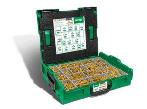 Cajas de montaje L-BOXX, Kit de tornillos con 17 dimensiones, Cabeza plana, Ranura en cruz Z, 4CUT, YELLOX - 5000009164019