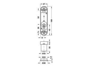 Cerradura con varilla de empuje,Con cilindro de pitones, Perfil estándar, Entrada 13,5 mm