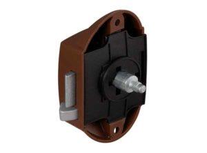Cerradura de varilla giratoria,Push-Lock, Entrada 25 mm, Uso por un lado Marrón