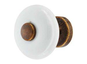 Pomo para muebles,de porcelana, zócalo de fundición de zinc, redondo blanco, marrón envejecido