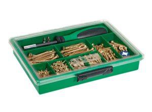 SPAX Surtidos grande, Kit de tornillos con 8 dimensiones + Atornillador + Puntas, 630 unidades, Cabeza plana, Ranura en cruz Z, YELLOX - 4000001991059