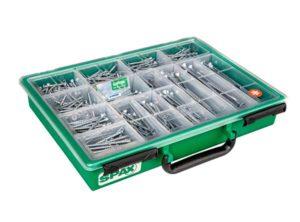 SPAX Surtidos pequeño, Kit de tornillos con 7 dimensiones, 245 unidades, Cabeza plana, Ranura en cruz Z, bruñido - 4000001991169