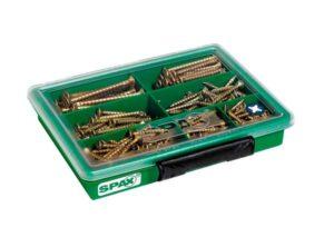 SPAX Surtidos pequeño, Kit de tornillos con 7 dimensiones, 245 unidades, Cabeza plana, Ranura en cruz Z, YELLOX - 4000001991039