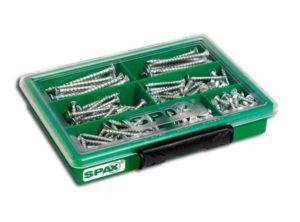 SPAX Surtidos pequeño, Kit de tornillos con 7 dimensiones, 245 unidades, Cabeza plana, T-STAR plus, WIROX - 4000001991159