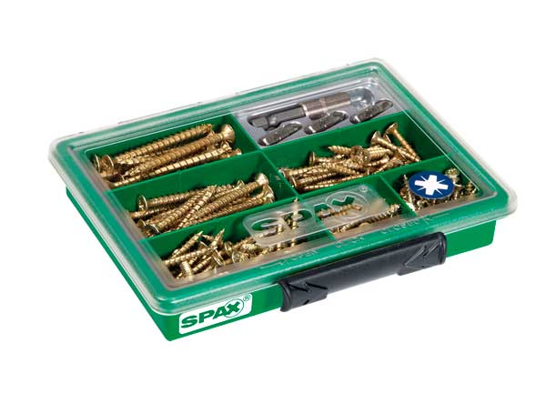 SPAX-Surtidos-pequeño,-Kit-de-tornillos-con-7-dimensiones-+-Puntas,-199-unidades,-Cabeza-plana,-Ranura-en-cruz-Z,-YELLOX---4000001991129